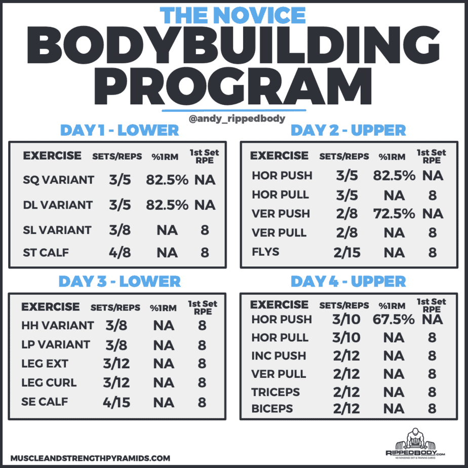 beginner bodybuilding program outline
