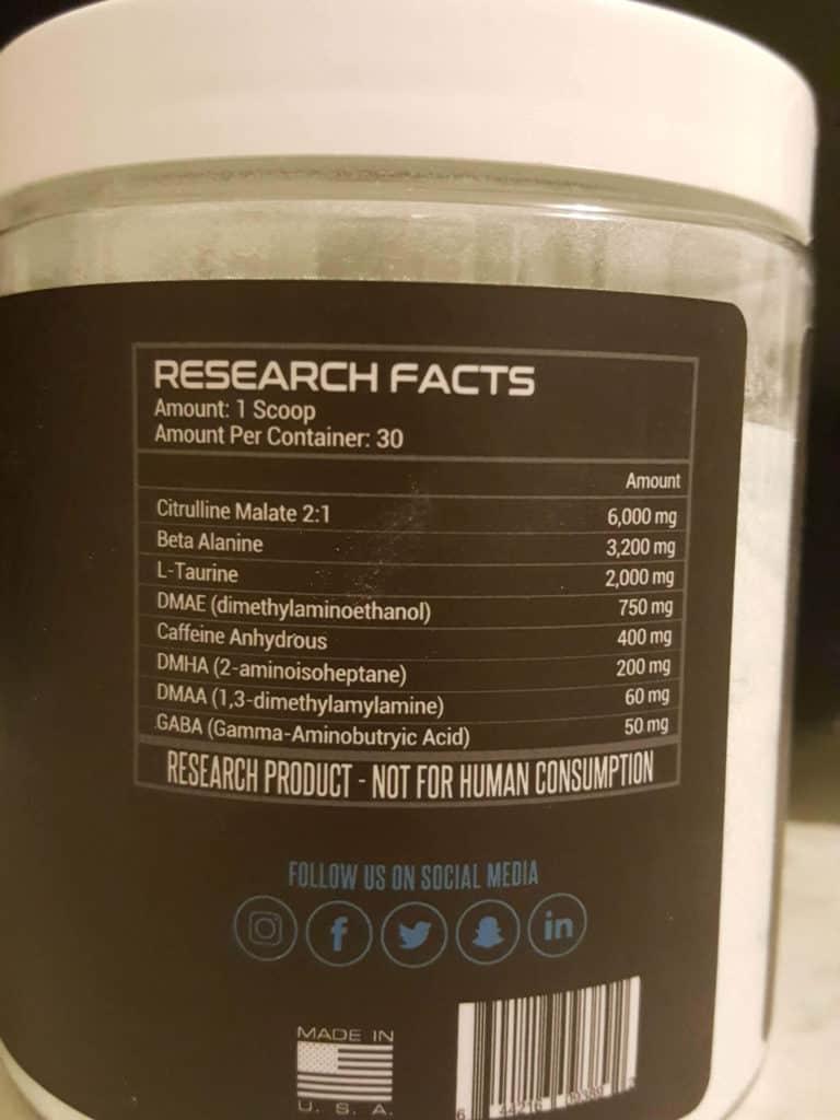 Dark Energy Pre Workout Ingredient Label