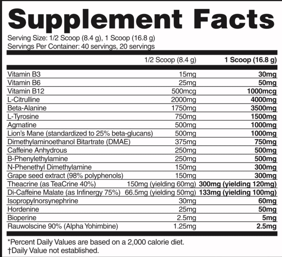 Assassin Pre Workout Ingredient Label