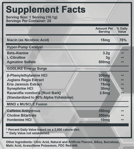 Arez Titanium Pre Workout Ingredients Label