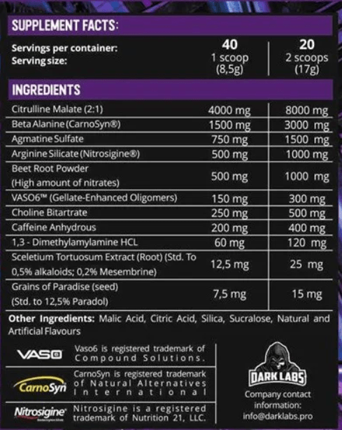 Dark Labs Crack Ingredient Label