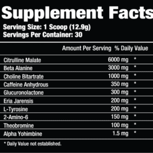Pre Phase Pre Workout Ingredients Label