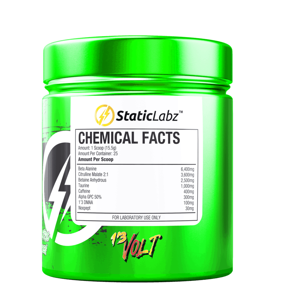 13 Volt Pre Workout Ingredient Label