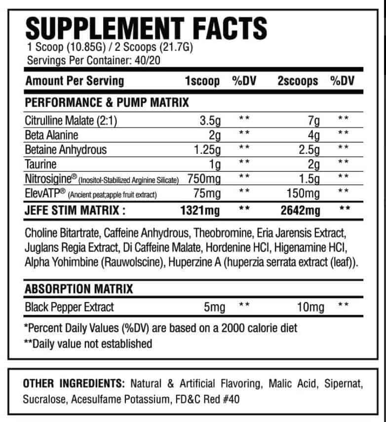 El Jefe pre workout ingredients label