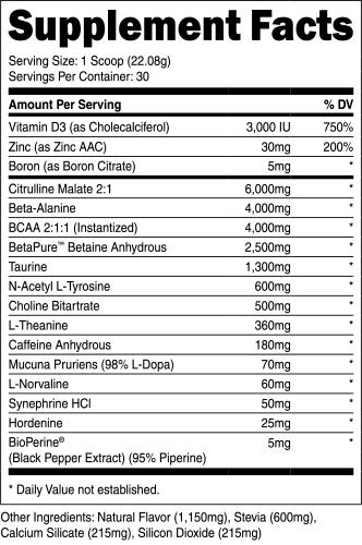 Transparent Labs Bulk Pre Workout Ingredients Label