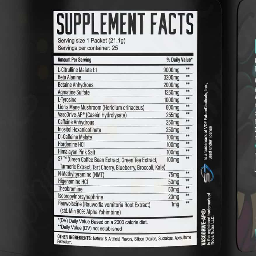 Wrecked Pre Workout Ingredients Label