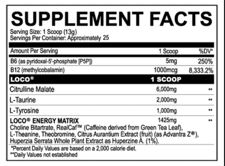Loco Pre Workout Ingredients Label