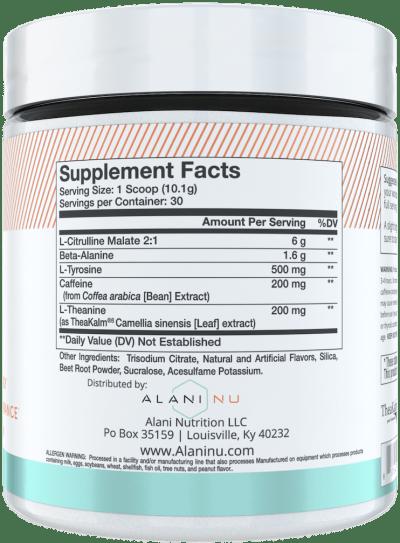 Alani Nu Pre Workout Ingredients Label
