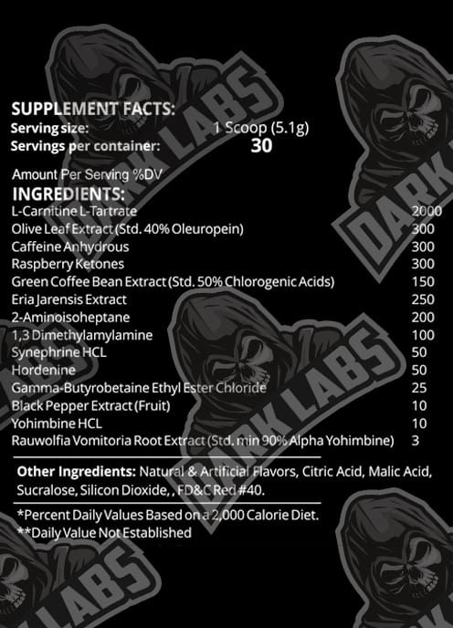 Dark Labs Herolean Ingredients Label