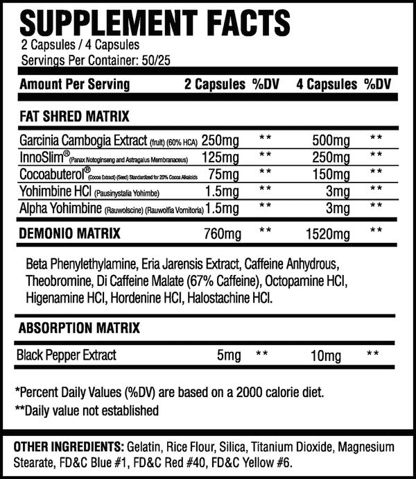 ASC Supplements Demonio Fat Burner Ingredients Label