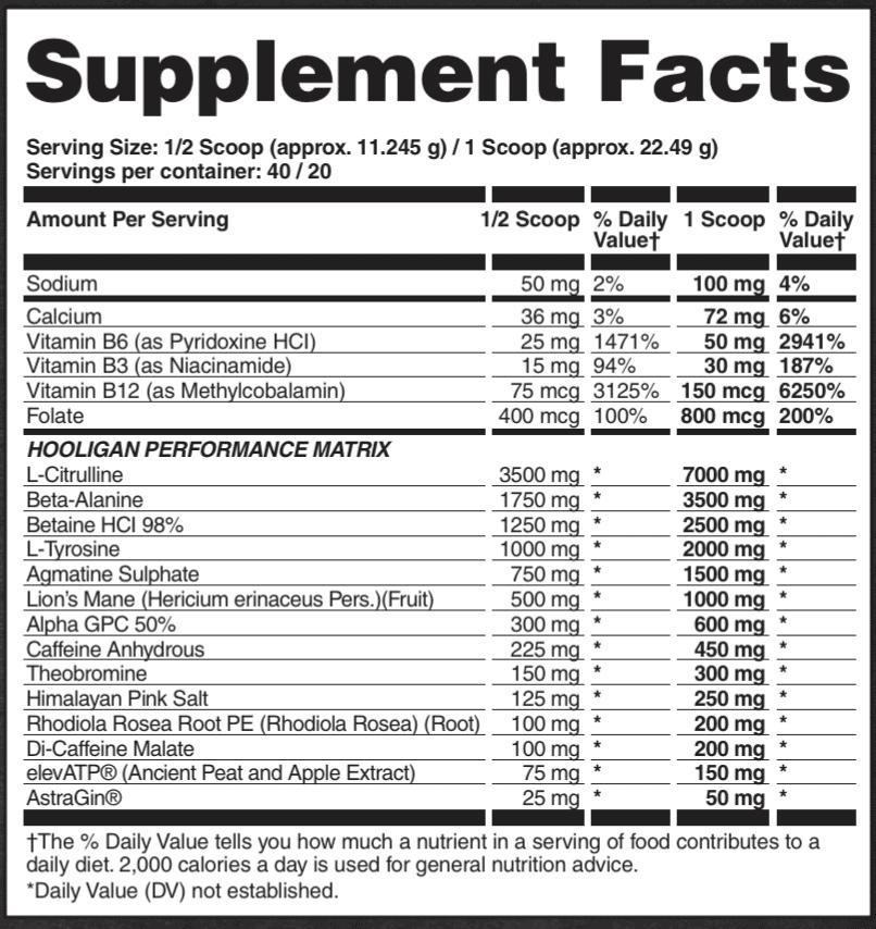 Apollon Nutrition Hooligan Pre Workout Ingredients Label v5