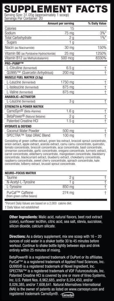 Kaged Muscle Pre-Kaged Pre Workout Ingredients Label