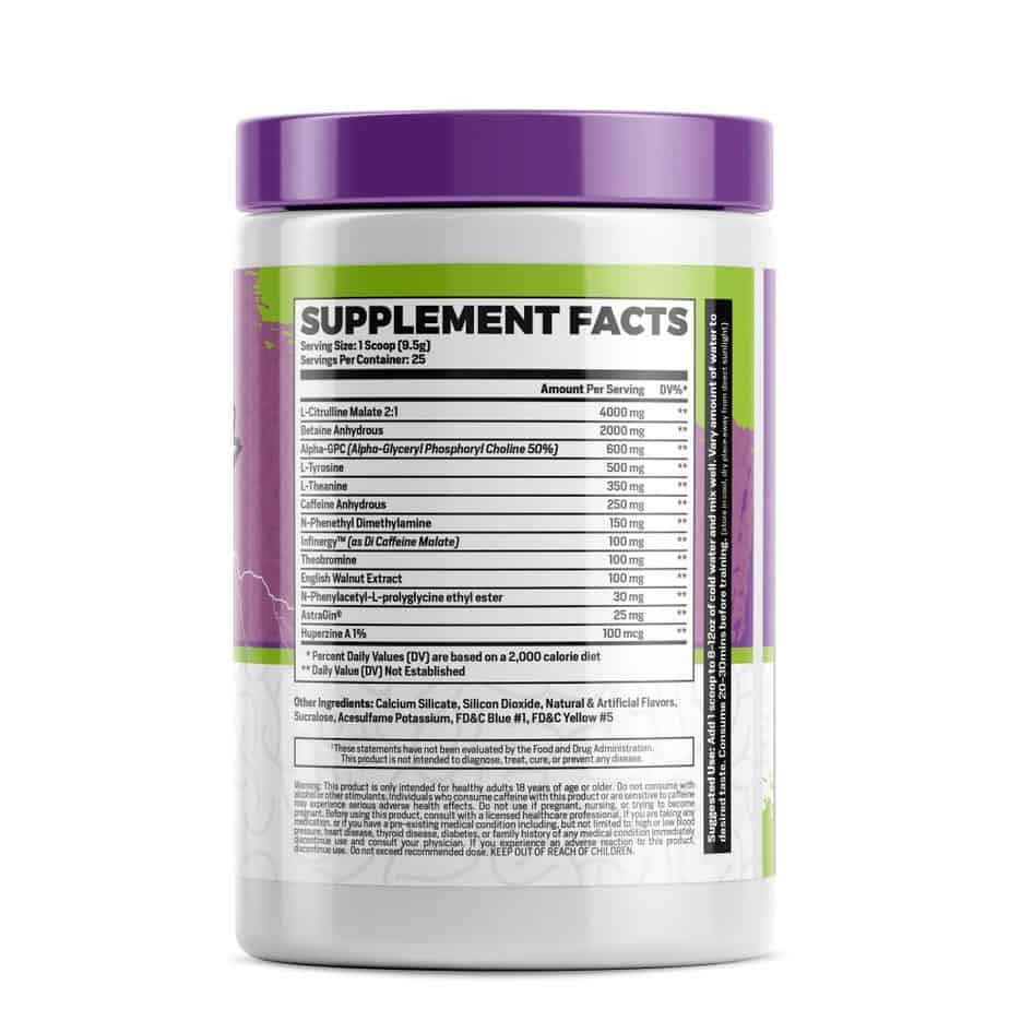 Phase One Nutrition Brain Blitz Pre Workout Nootropic Ingredients Label