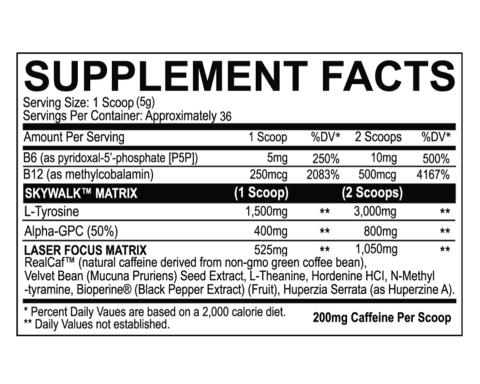 Skywalk Nootropic Ingredients Label