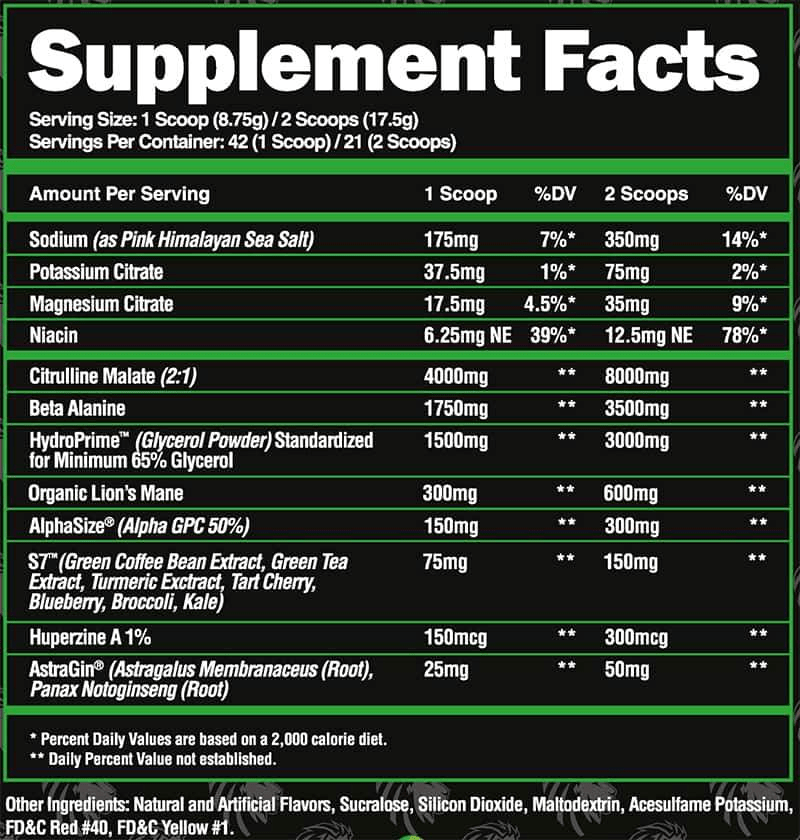 Superhuman Pump Ingredients Label