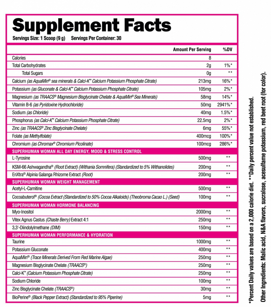 Superhuman Woman Pre Workout Ingredients Label