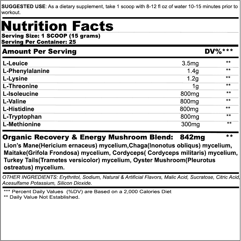 Chemix EAA Ingredients Label