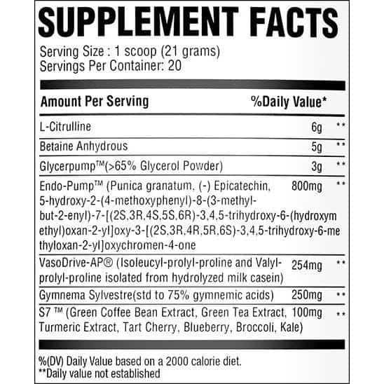 Chemix King of Pumps Ingredients Label