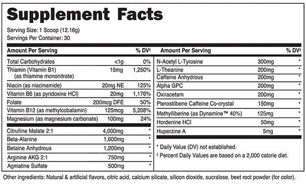 Euphoria Pre Workout Ingredients Label