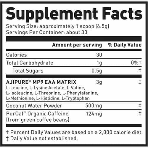 Kaged Muscle Amino Synergy with Caffeine Ingredients Label