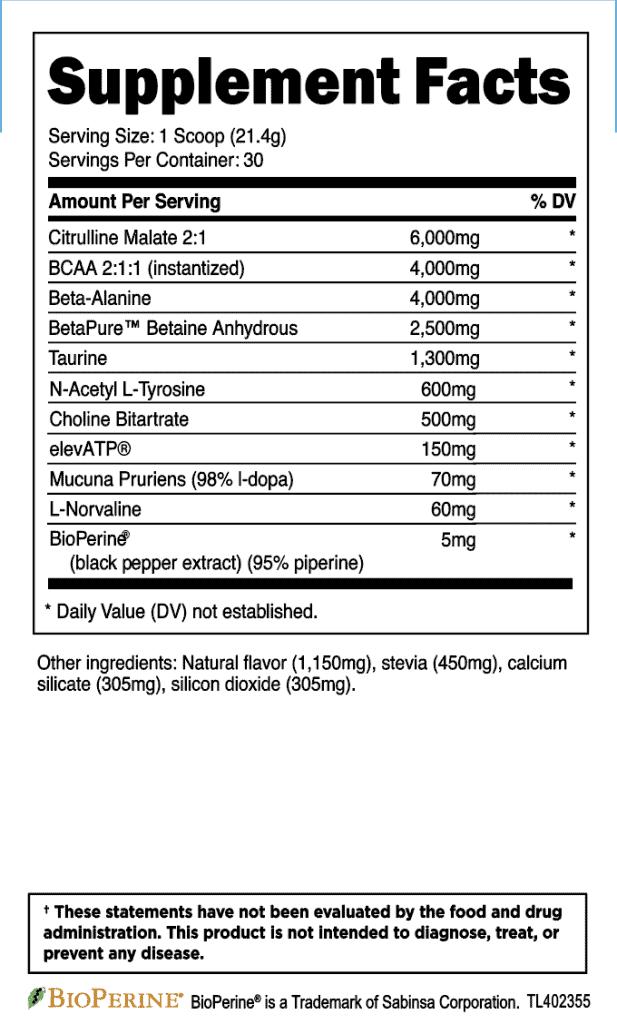 Transparent Labs Stim Free Pre Workout Ingredients Label