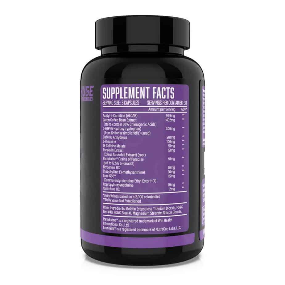 Huge Supplements Eliminate Fat Burner Ingredients Label