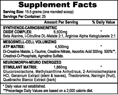 Mesomorph Pre Workout Ingredients Label