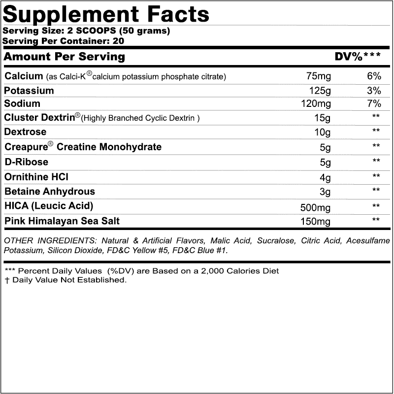 Chemix Intra Workout Ingredients Label