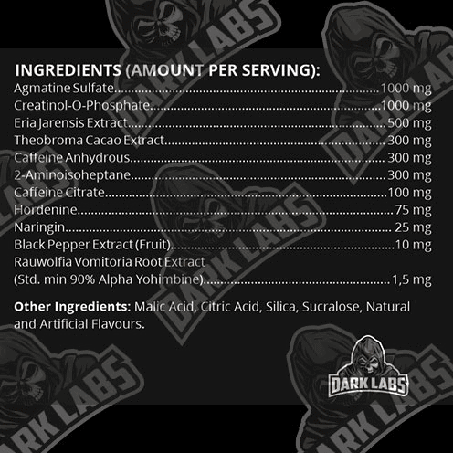 Dark Labs Flame Pre Workout Ingredients Label