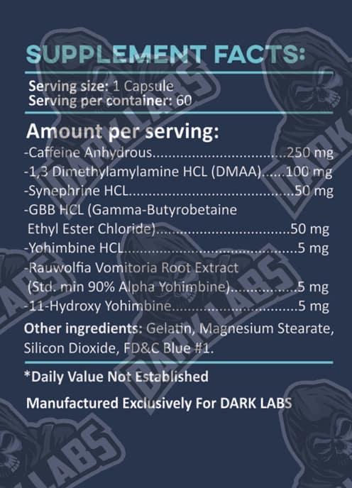 Dark Labs Ripper Fat Burner Ingredients Label