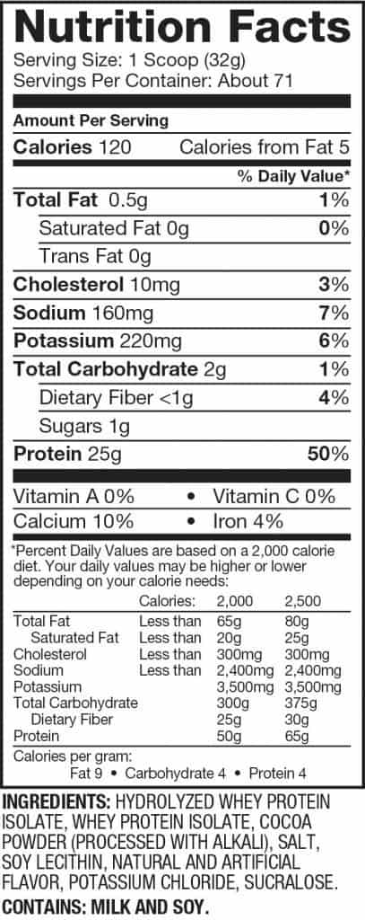 Dymatize Iso 100 Ingredients Label