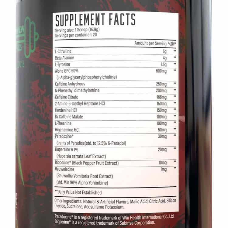 Huge Supplements Wrecked Extreme Ingredients Label