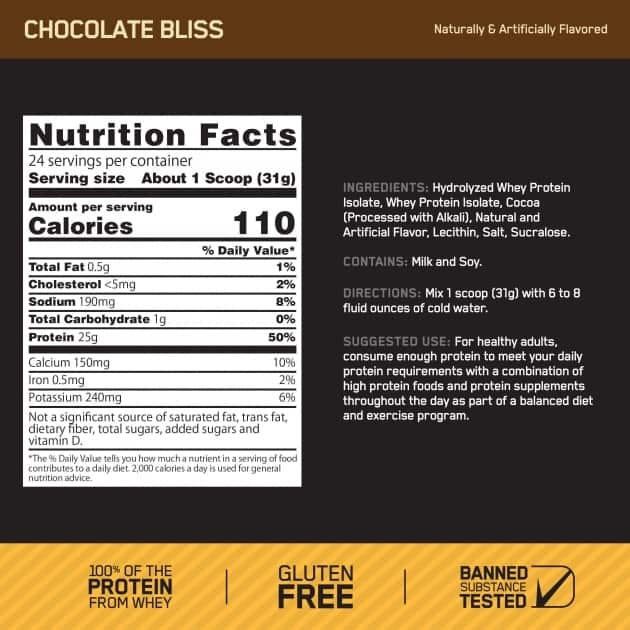 Optimum Nutrition Gold Standard 100% Whey Protein Isolate Ingredients Label