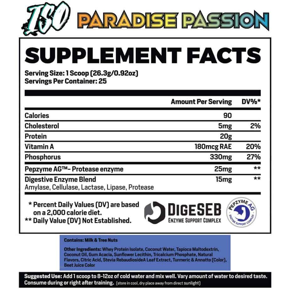 Phase 1 Nutrition Iso Clear Whey Protein Ingredients Label