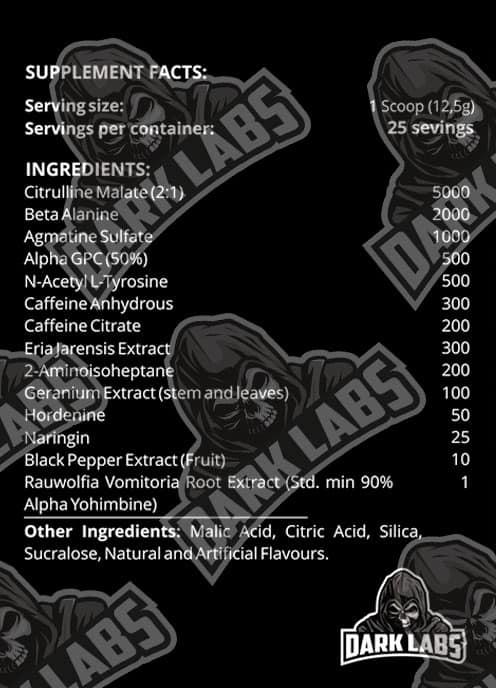 Crack Gold Pre Workout Ingredients Label