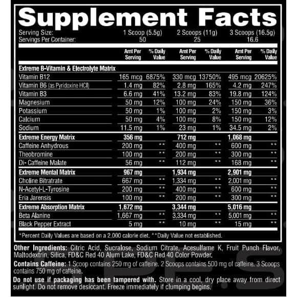 ESP Extreme Pre Workout Ingredients Label