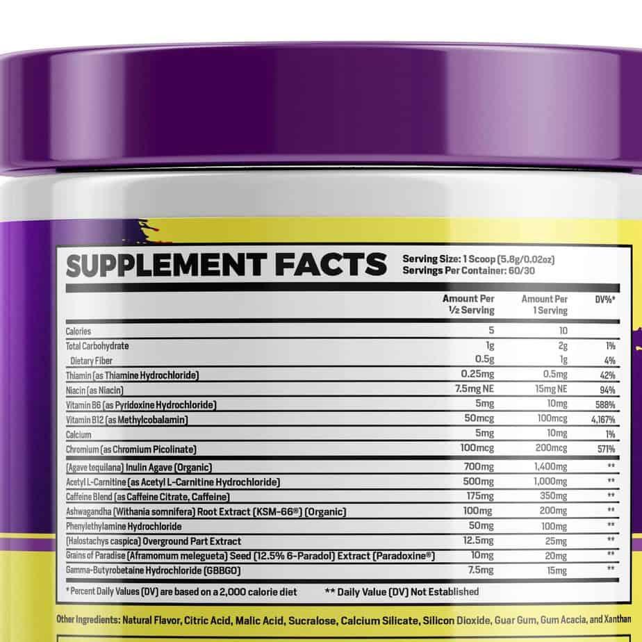 Lean Phase Burn Ingredients Label