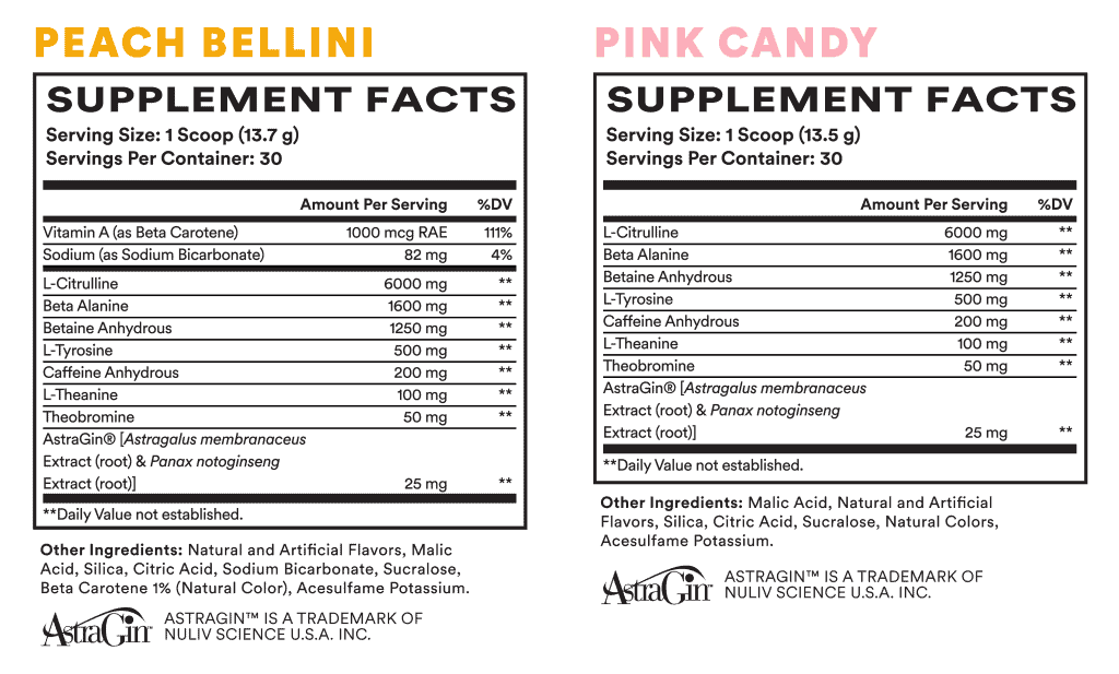 Pre-Game Pre Workout Ingredients Label