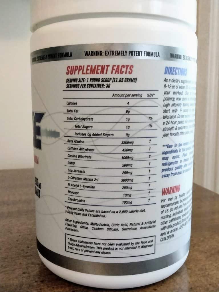 Noize Pre Workout Ingredients Label