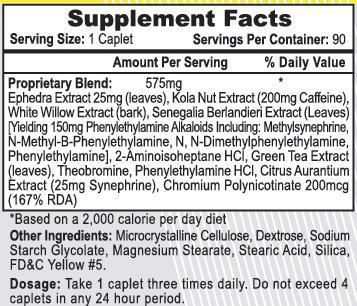 ECA Xtreme Ingredients Label