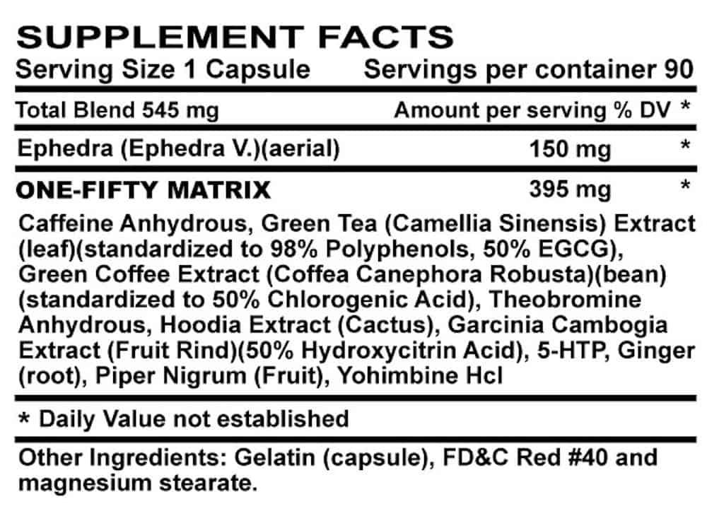 Stimamine 150 Ingredients Label