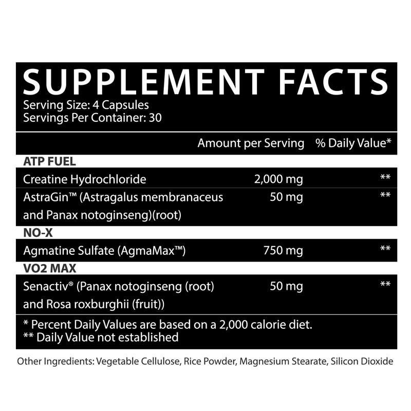 CR3 Creatine Ingredients Label