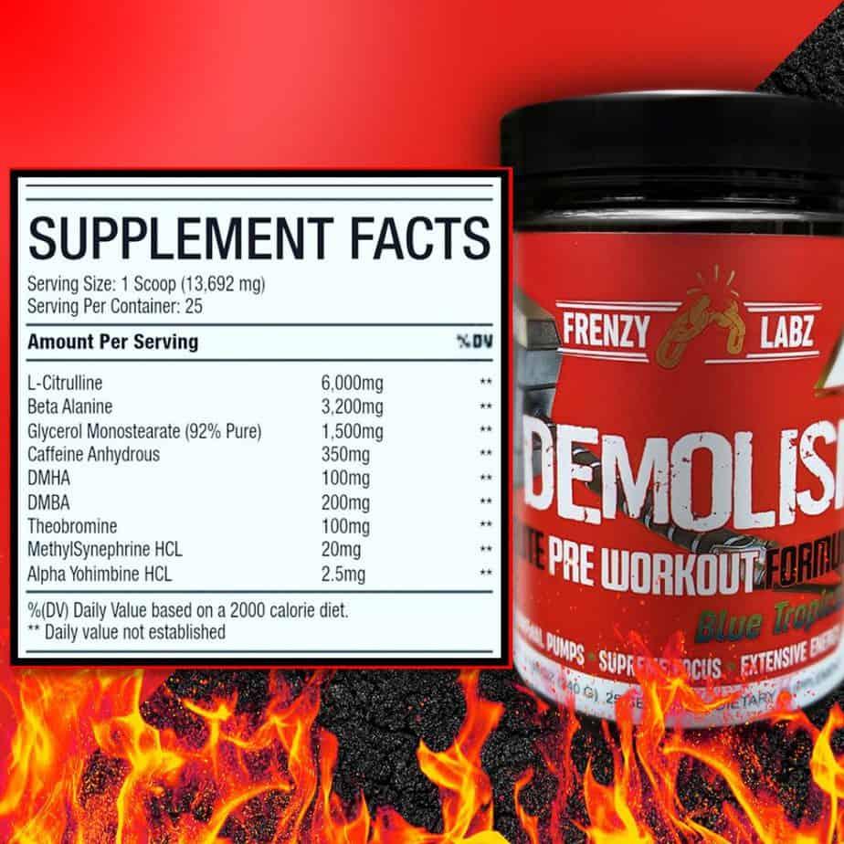 Demolish Pre Workout Ingredients Label