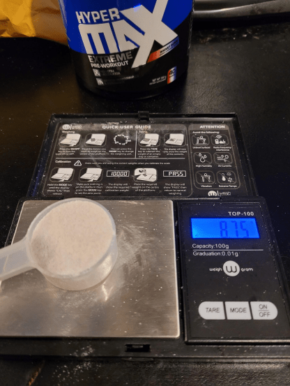 Hypermax Extreme Pre Workout Scoop Size
