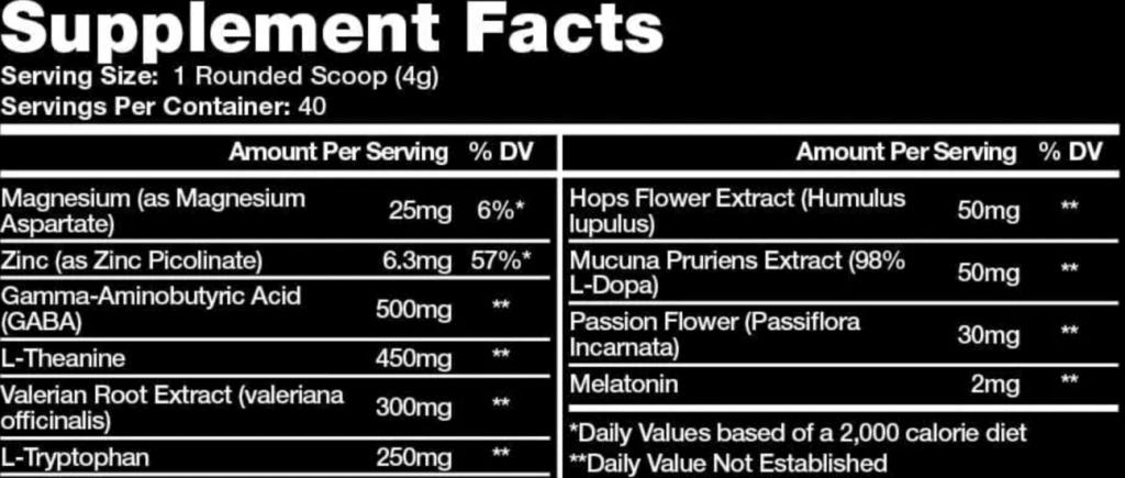 Hypnos Sleep Aid Ingredients Label
