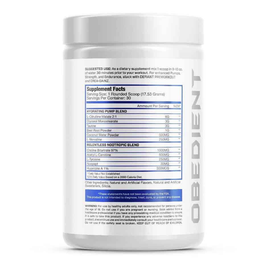 Obedient X3 Ingredients Label