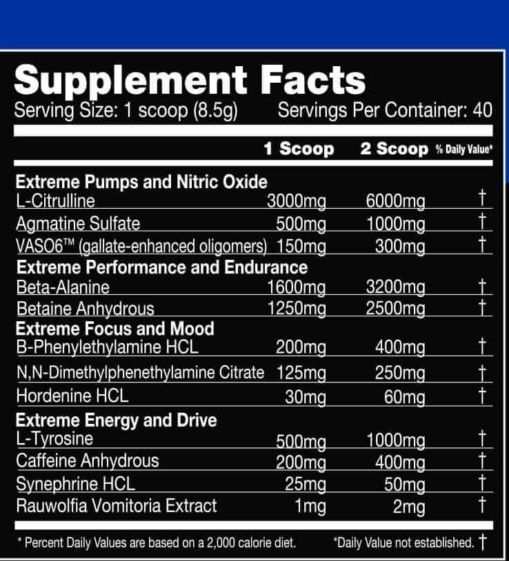 Hypermax Extreme Pre Workout Ingredients Label