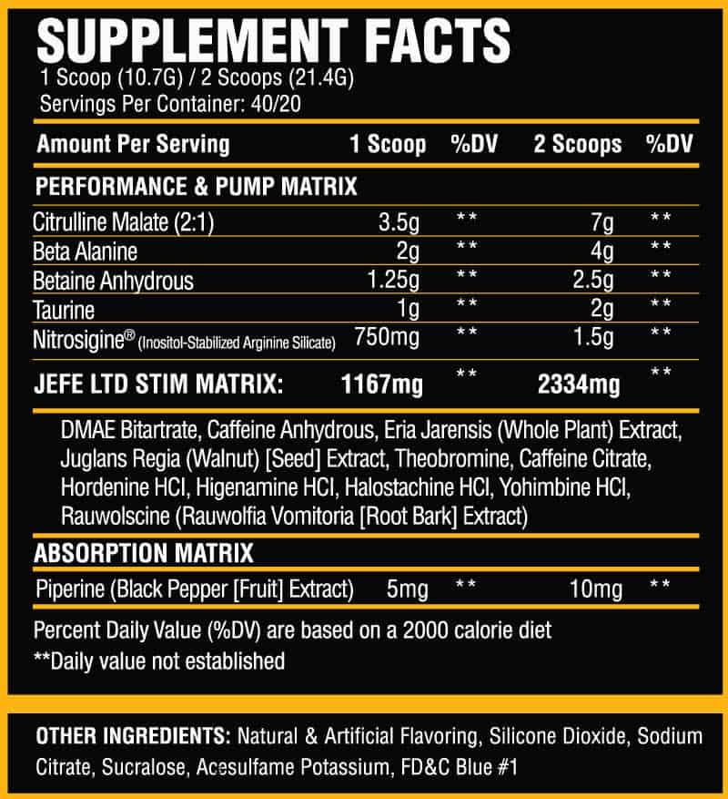 El Jefe Limited Edition Ingredient label